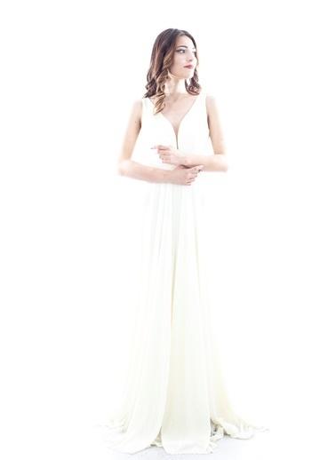 Belamore  Ekru Ip Askılı V Yaka Arkası Ipli Bağlamalı Abiye & Mezuniyet Elbisesi 1301469-10.147 Ekru